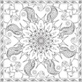 Coloring Page Book for Adults Square Format Floral Mandala Butterfly Design Vector Illustration Royalty Free Stock Photo