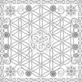 Coloring Page Book for Adults Square Format Flower of Life Mandala Design Vector Illustration Royalty Free Stock Photo