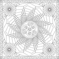 Coloring Page Book for Adults Square Format Geometric Flower Mandala Design Vector Illustration Royalty Free Stock Photo