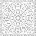 Coloring Page Book for Adults Square Format Zodiac Signs Wheel Mandala Design Vector Illustration
