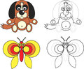 Coloring page book for kids - dog and butterfly Royalty Free Stock Photos