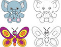 Coloring page book for kids - elephant butterfly Royalty Free Stock Photo