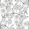 Coloring page book seamless ornamental elements black and white pattern illustration