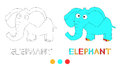 Coloring page for children with elephant and hand draw letters.