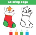 Coloring page with Christmas sock with gifts. Drawing kids game. Printable activity. New year winter holidays theme