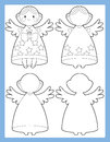 The coloring page with connecting elements illustration for the kids beautiful colloring angels children Royalty Free Stock Photography