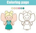 Coloring page with cute fairy character. Color by numbers educational children game, drawing kids activity.