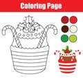 Coloring page. Educational children game. Color Christmas cupcake. Drawing kids printable activity.