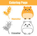 Coloring page with hamster. Educational game, printable drawing kids activity