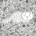 Coloring page. Hand-drawn illustration. Perfect antistress. A fat red cat surrounded by flowers, fish, toys and other
