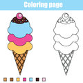 Coloring page with ice cream. Educational children game, printable drawing kids activity