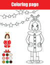 Coloring page with kid girl. Children educational game, drawing activity, printable worksheet
