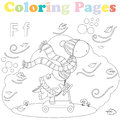 Coloring page for kids ,alphabet set,letter F