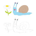 Coloring page for kids snail vector image of looking at daisy flower Stock Photo