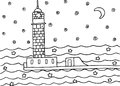 Coloring page with lighthouse in the night sea Royalty Free Stock Photo