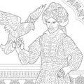 Zentangle stylized ottoman sultan with hawk
