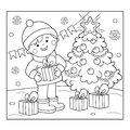Coloring Page Outline Of boy with gifts at Christmas tree. Christmas. New year. Coloring book for kids. Royalty Free Stock Photo