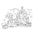 Coloring Page Outline Of cartoon boy decorating the Christmas tree with ornaments and gifts. Christmas. New year