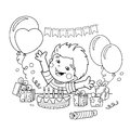 Coloring Page Outline Of cartoon boy with a gifts at the holiday. Birthday. Coloring book for kids.