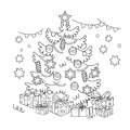 Coloring Page Outline Of cartoon Christmas tree with ornaments and gifts. Christmas. New year Royalty Free Stock Photo