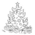 Coloring Page Outline Of cartoon Christmas tree with ornaments and gifts. Royalty Free Stock Photo