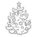 Coloring Page Outline Of cartoon Christmas tree with ornaments.