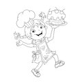 Coloring Page Outline Of cartoon Girl chef with cake