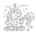 Coloring Page Outline Of cartoon girl decorating the Christmas tree with gifts. Christmas. New year. Coloring book for kids.