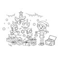 Coloring Page Outline Of cartoon girl decorating the Christmas tree with ornaments and gifts. Christmas. New year.