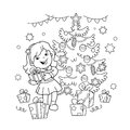 Coloring Page Outline Of cartoon girl with gift at Christmas tree. Christmas. New year. Coloring book for kids.