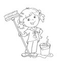 Coloring Page Outline Of cartoon girl with mop and bucket