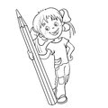 Coloring Page Outline Of a Cartoon Girl with pencil Royalty Free Stock Photo