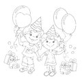 Coloring Page Outline Of cartoon girls with a gift