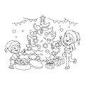 Coloring Page Outline Of children decorate the Christmas tree with ornaments and gifts. Christmas. New year. Royalty Free Stock Photo