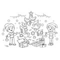 Coloring Page Outline Of children decorate the Christmas tree with ornaments and gifts.