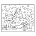 Coloring Page Outline Of children with gifts at Christmas tree. Christmas. New year. Coloring book for kids Royalty Free Stock Photo