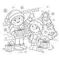 Coloring Page Outline Of children with gifts at Christmas tree.Christmas. New year. Coloring book for kids Royalty Free Stock Photo