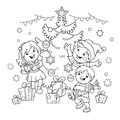 Coloring Page Outline Of children with gifts at Christmas tree.