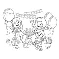 Coloring Page Outline Of children with a gifts at the holiday. Birthday. Coloring book for kids.