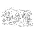 Coloring Page Outline Of children make paper Christmas lanterns. Christmas. New year. Coloring book for kids.