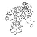 Coloring Page Outline Of Christmas bell. Christmas tree branch.