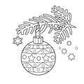 Coloring Page Outline Of Christmas decoration. Christmas tree branch. New year.