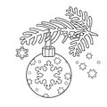 Coloring Page Outline Of Christmas decoration. Christmas tree branch. New year. Coloring book for kids.