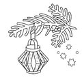 Coloring Page Outline Of Christmas decoration. Paper flashlight. Christmas tree branch. New year. Coloring book for kids