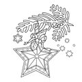 Coloring Page Outline Of Christmas decoration. Star. Christmas tree branch. New year. Coloring book for kids.