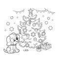 Coloring Page Outline Of Christmas tree with ornaments and gifts with puppy. The year of the dog. Christmas. New year