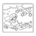 Coloring Page Outline Of Christmas tree with ornaments and gifts with puppy