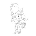Coloring Page Outline Of girl with gift and balloons