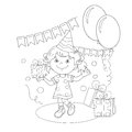 Coloring Page Outline Of girl with a gift at the holiday