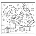 Coloring Page Outline Of girl with gifts at Christmas tree. Christmas. New year. Royalty Free Stock Photo